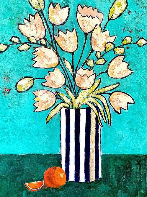 "Striped Vase and Oranges 24""x36"""