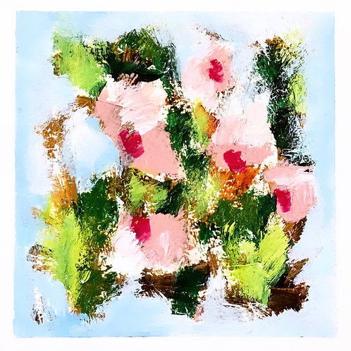 "Pink Blooms I 5""x5"""