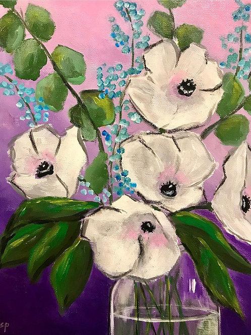 "White Flowers 12""x16"""