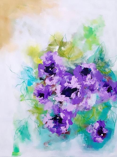 """Purple Flowers 24""""x30"""""""