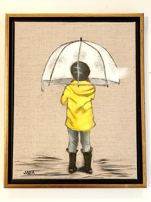 """Yellow Raincoat"" 11""x14"" framed"