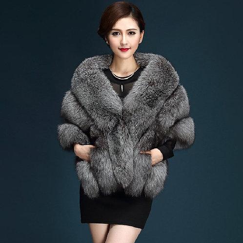 High Quality Dark Gray  Faux Fur Shawl