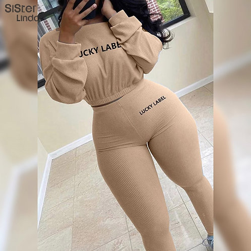 Fashion Rib Lucky Label 2 Piece Set Women Tracksuit  Sweet High Stretch Jogger