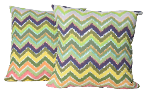 Pair of One of a Kind Multi-Color Zig Zag Pillows