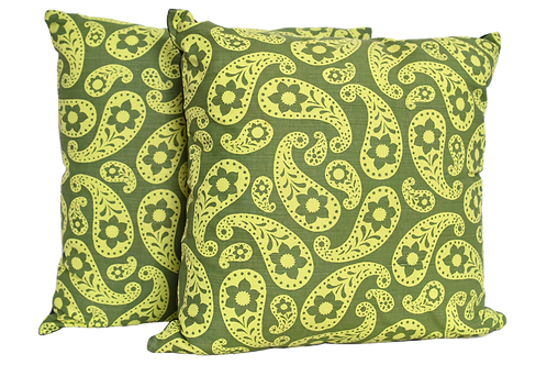 Pair of One of Kind Green Vintage Paisley