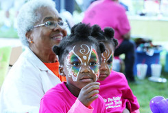 Face painting at the annual Leopold's Trail Run