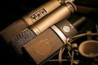 Recording studio microphone.  AKG, Rode, Shure, Pop filter, Shock mount
