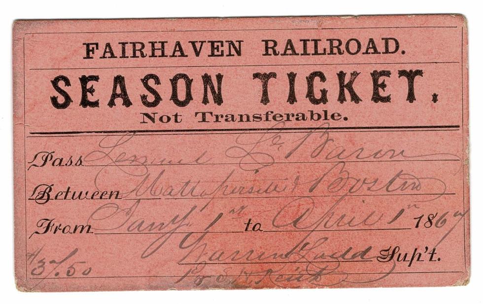 A Fairhaven Branch Railroad season ticket from 1867, held by Lemuel LeBaron.