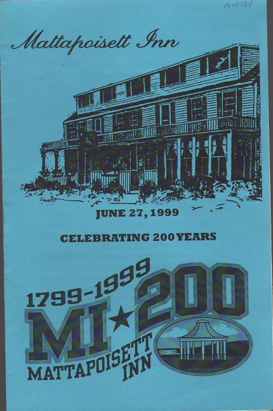 Program from the 200th anniversary celebration of the Mattapoisett Inn (as it was known then).