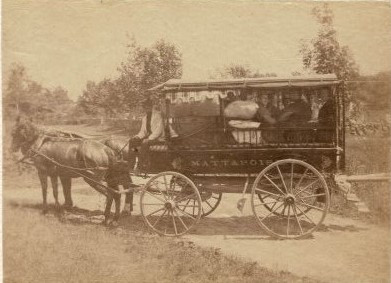 """John Clarke operated this """"barge"""" (wagon) service to provide transportation to and from the train station."""