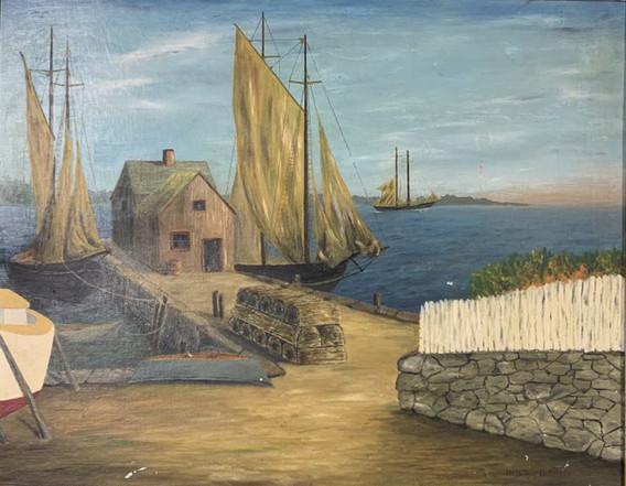 Painting of Mattapoisett wharf by Anthony DeCosta, c. 1950s.
