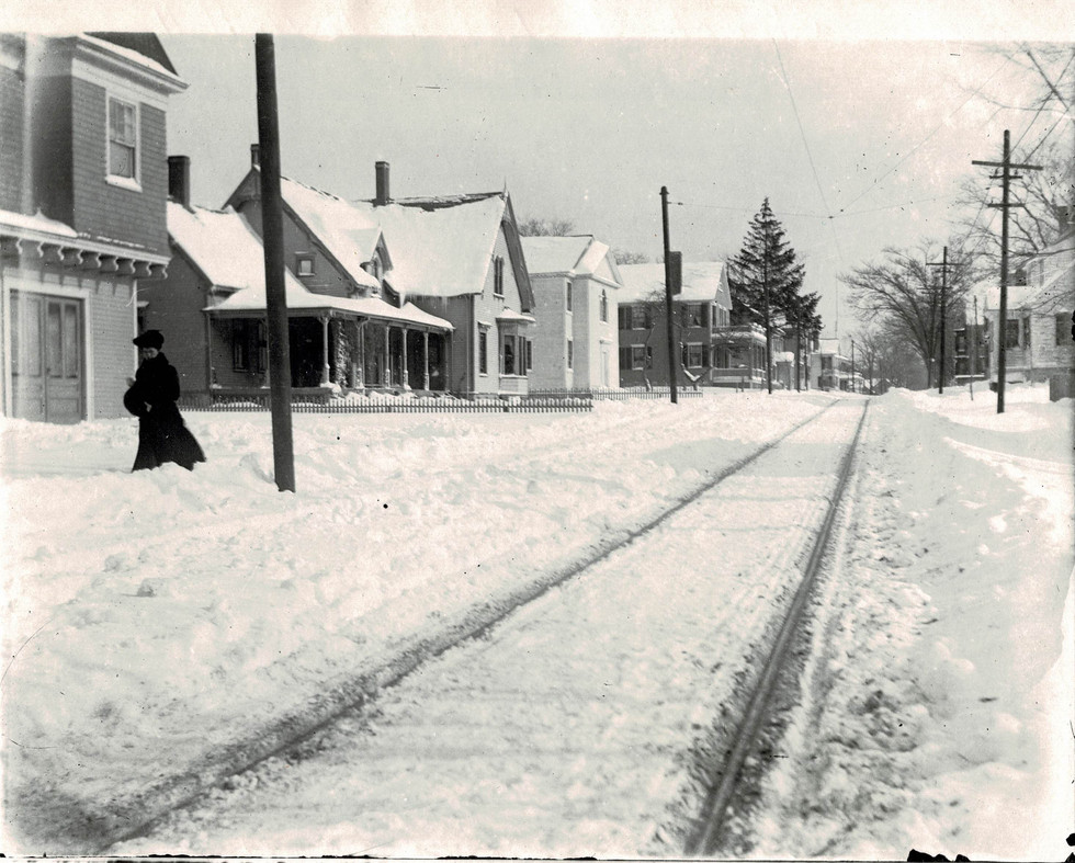 The trolley tracks on Church Street in the snow.