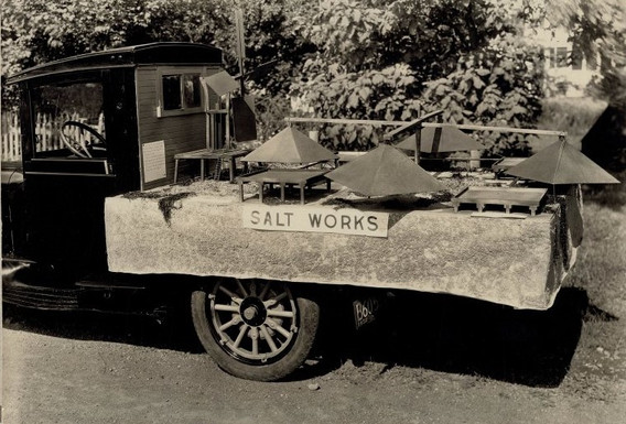 The saltworks model that now resides in the museum was built in 1932 by Ellis Mendell. It has been displayed in several parades since.