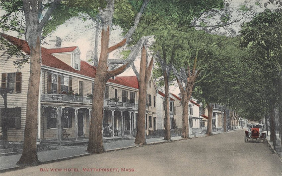 This establishment on Water Street was known by several names over its 200+ year history: Meigs Tavern, Bayview Hotel, Holiday House, Mattapoisett Inn, Kinsale Inn, and finally the Inn on Shipyard Park.