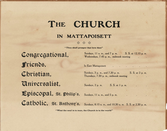 Schedule of services at Mattapoisett churches.