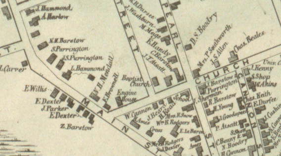 1856 map showing the Christian Church - then labeled Baptist - and surroundings.