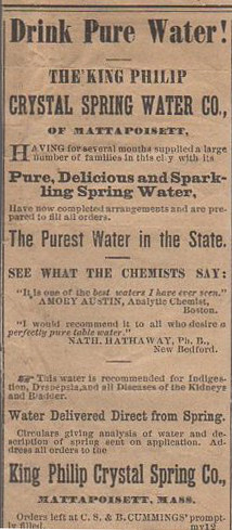 Newspaper advertisement for the King Philip Crystal Spring Water Co., operated by the Atsatt family.
