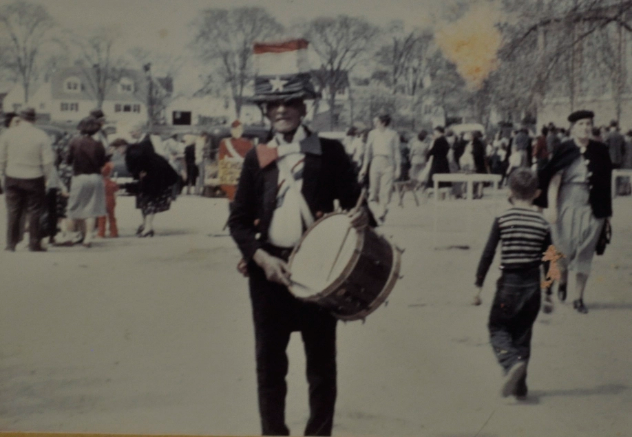 Abraham Skidmore with his drum during a 4th of July Parade.