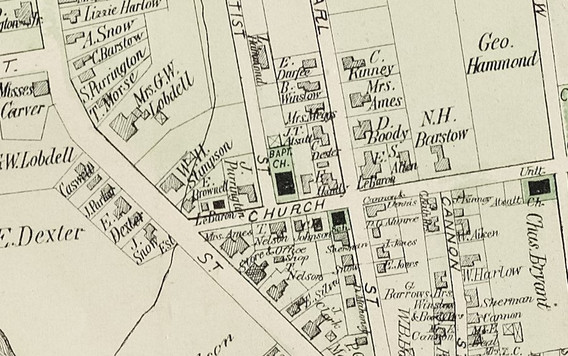 1879 map showing the Christian Church - then labeled Baptist - and surroundings.