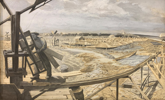 Mattapoisett's coastline was once dotted with saltworks. This painting by George E. Errington depicts similar industry on Buzzard's Bay.