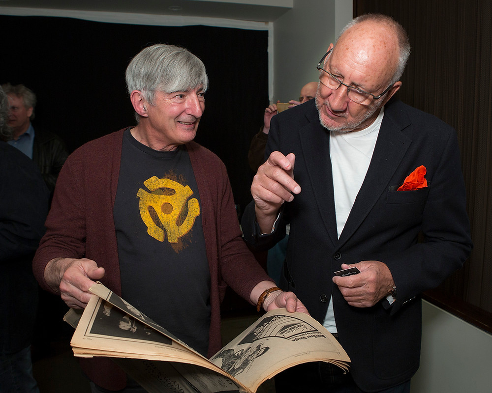 George meeting Pete Townsend with a copy of the NME featuring Ryhope's TOMMY