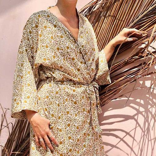 Kimono Ochre Flower (short) & haarband