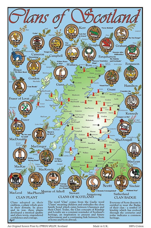 Clans of Scotland Tea towel