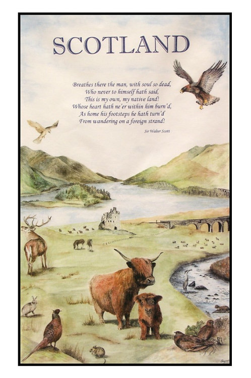 Highland Scene Tea towel