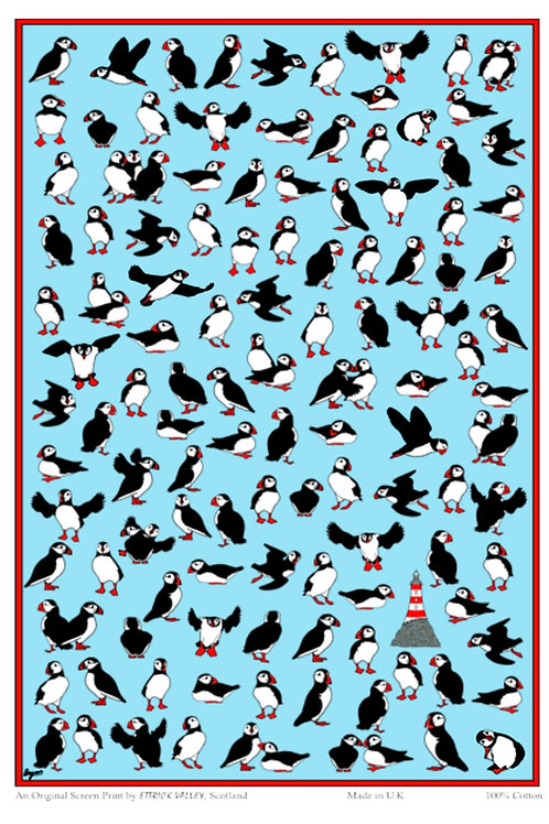 Puffin Parliament Tea towel