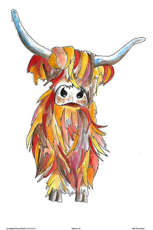 Scottish Cow tea towel