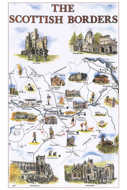 Scottish Borders Tea Towel
