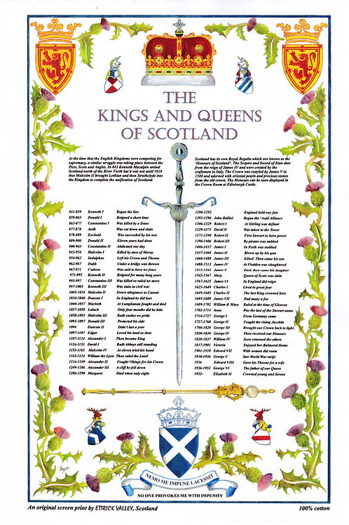 Kings and Queens of Scotland Tea towel