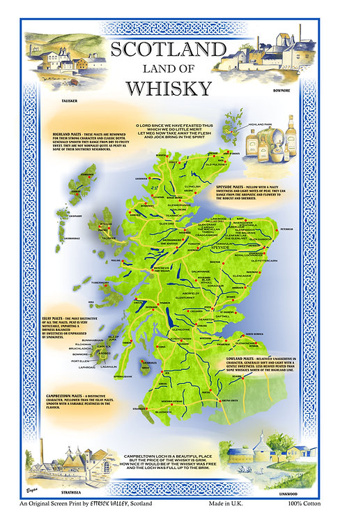 Whisky Map Tea towel