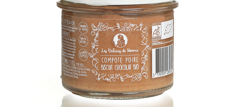 Compote poire biscuit chocolat bio