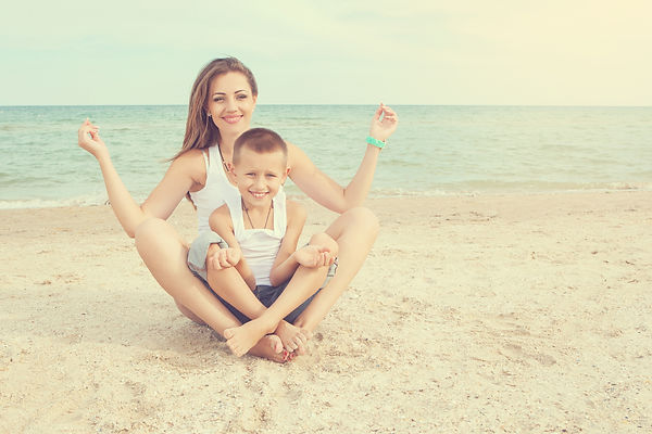 Happy family. Young beautiful  mother an