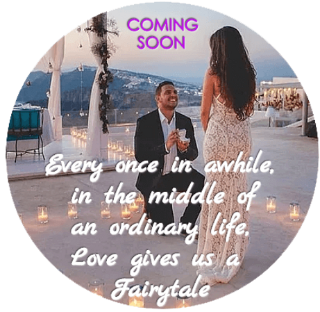 "Marriage proposal on bended knee in beautiful Greek Island, Santorini with Love sentiment overlay on couple ""Every once in awhile  in the middle of an ordinary  life love gives us a Fairytale"""