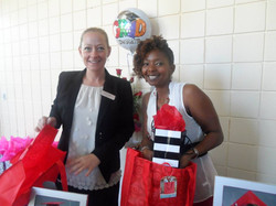 Handing out bags for the PACE Grads!