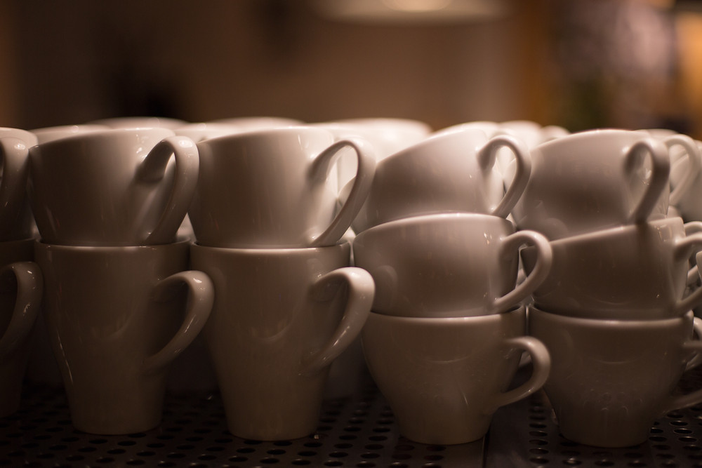 stacks of coffee cups
