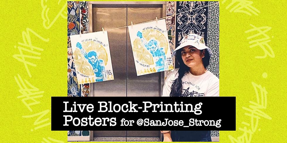 Live Block-Printing for San Jose Strong