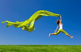 Energie ébordante  qui fait bondir le corps
