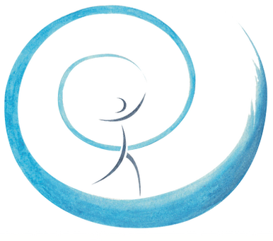 logo de l'ecole de sophrologie du nord est de reims ESNE, petit bonhomme dans un spirale bleu claire d'evolution