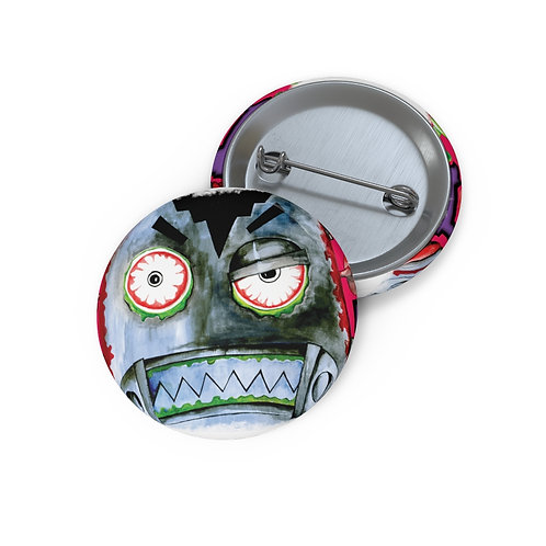 Zombie Robot Face Pin Buttons