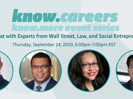know.careers event: Wall St, Law, Social Entrepreneurship