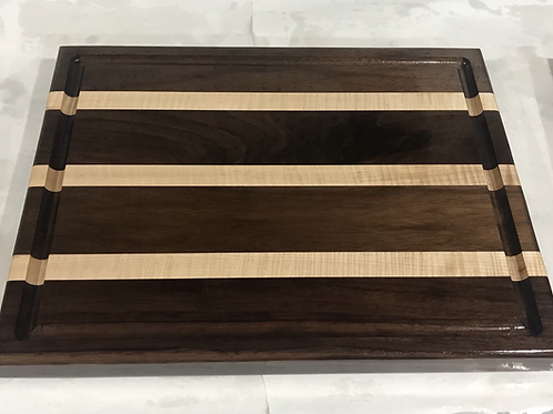 Black Walnut & Curly Maple X-large Juice Groove Cutting Board