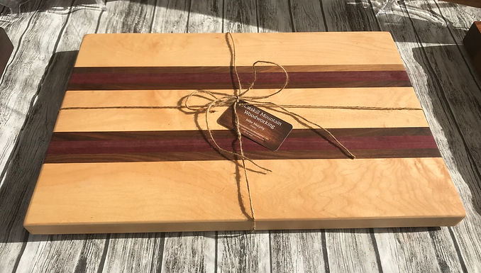 Curly Maple with Purple Heart & Black Walnut Large Cutting Board