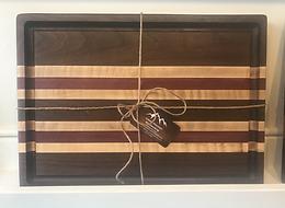 Black Walnut, Curly Maple & Purpleheart Cutting Board with juice groove