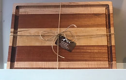 Curly Maple & Sapele Cutting Board with juice groove