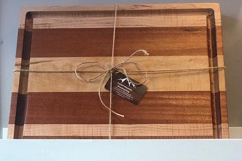 Sapele & Curly Maple Cutting X-large Juice groove Cutting Board.