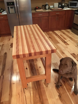 2' by 3' solid butcher block island I made for Mary Jo!  I could make one for you as well!!
