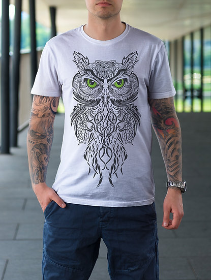 Gufetto Brand Donna T-shirt Tribal Owl Green Outlet